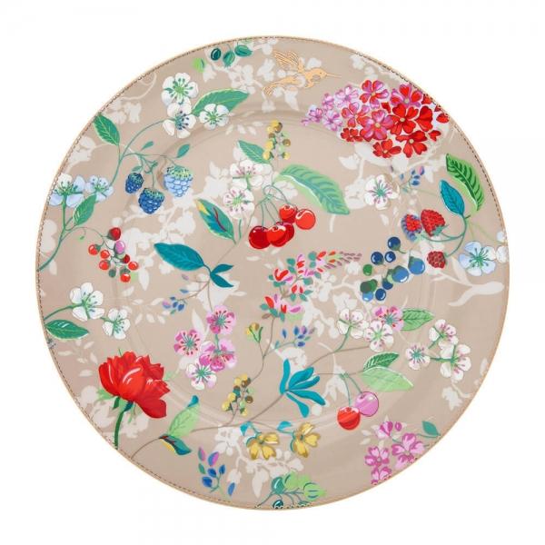 Prato Sousplat Hummingbirds caqui Floral  6 peças Pip Studio